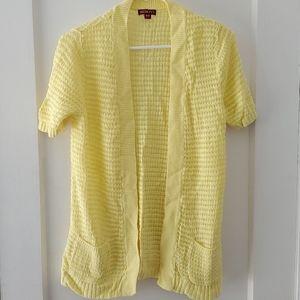 Beautiful open knit yellow longer open cardigan